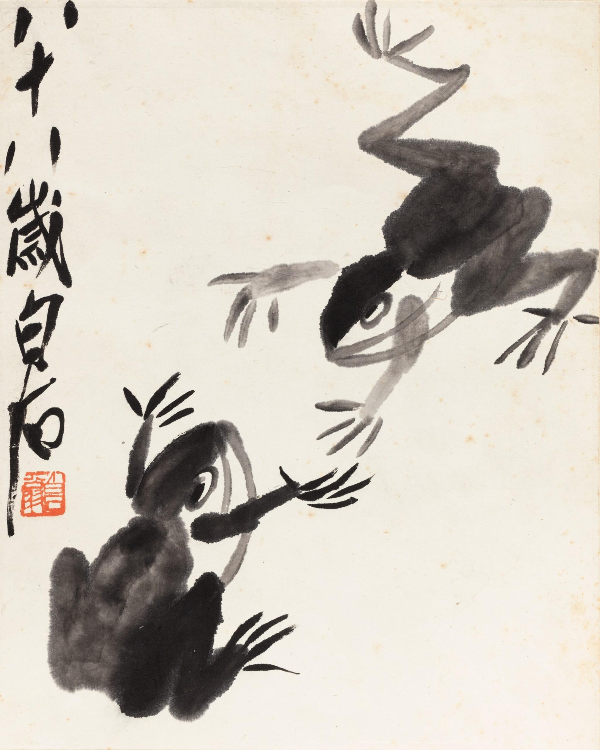 View 1 of Lot 151. Qi Baishi (1864-1957) Grenouilles | 齊白石 雙蛙圖 | Qi Baishi (1864-1957) Frogs.