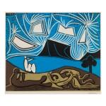 PABLO PICASSO   COUPLE ET FLÛTISTES AU BORD D'UN LAC (BACCHANALE) (BLOCH 930; BAER 1259)