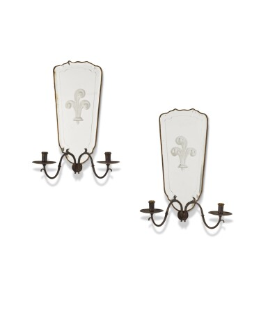 View 1. Thumbnail of Lot 147.  A PAIR OF ITALIAN MIRRORED TWIN-BRANCH WALL LIGHTS, EARLY 20TH CENTURY.