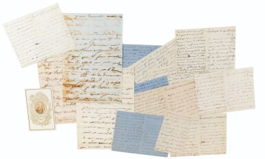 View 1. Thumbnail of Lot 113. Bel ensemble de 14 lettres autographes à Victor Hugo. 1848-1871..