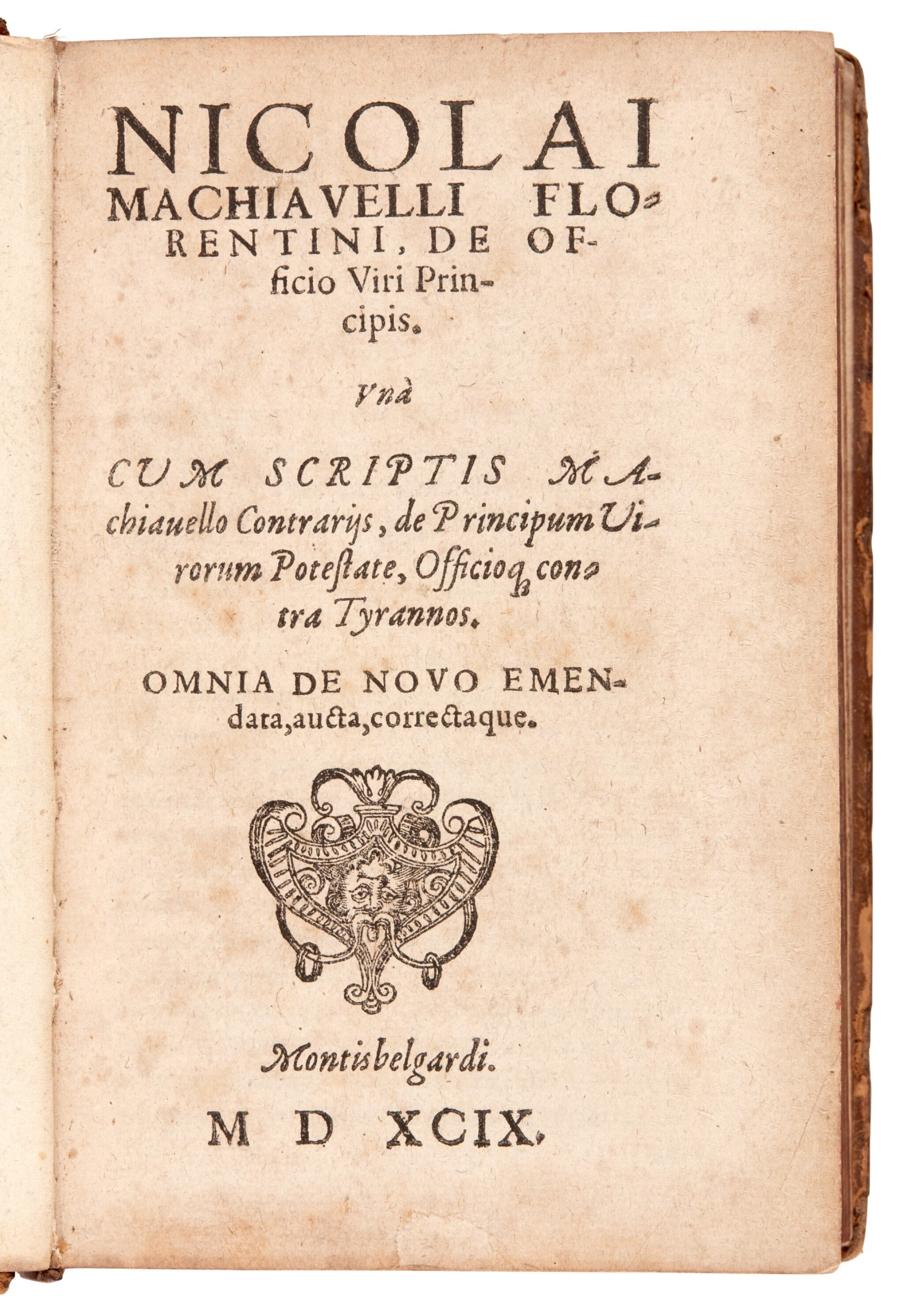 View full screen - View 1 of Lot 170. Machiavelli, Two works in Latin, Montbéliard, 1599 & 1591, later calf, two volumes.