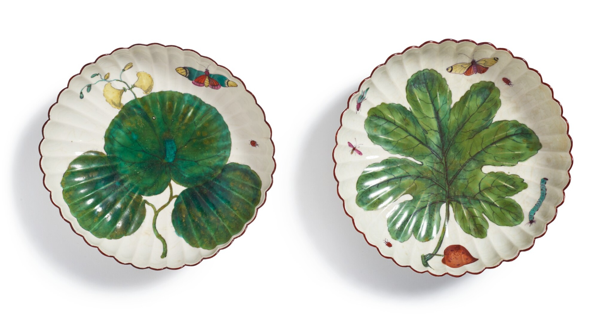 View full screen - View 1 of Lot 161.  TWO CHELSEA 'HANS SLOANE' FLUTED DEEP DISHES, CIRCA 1758-60.