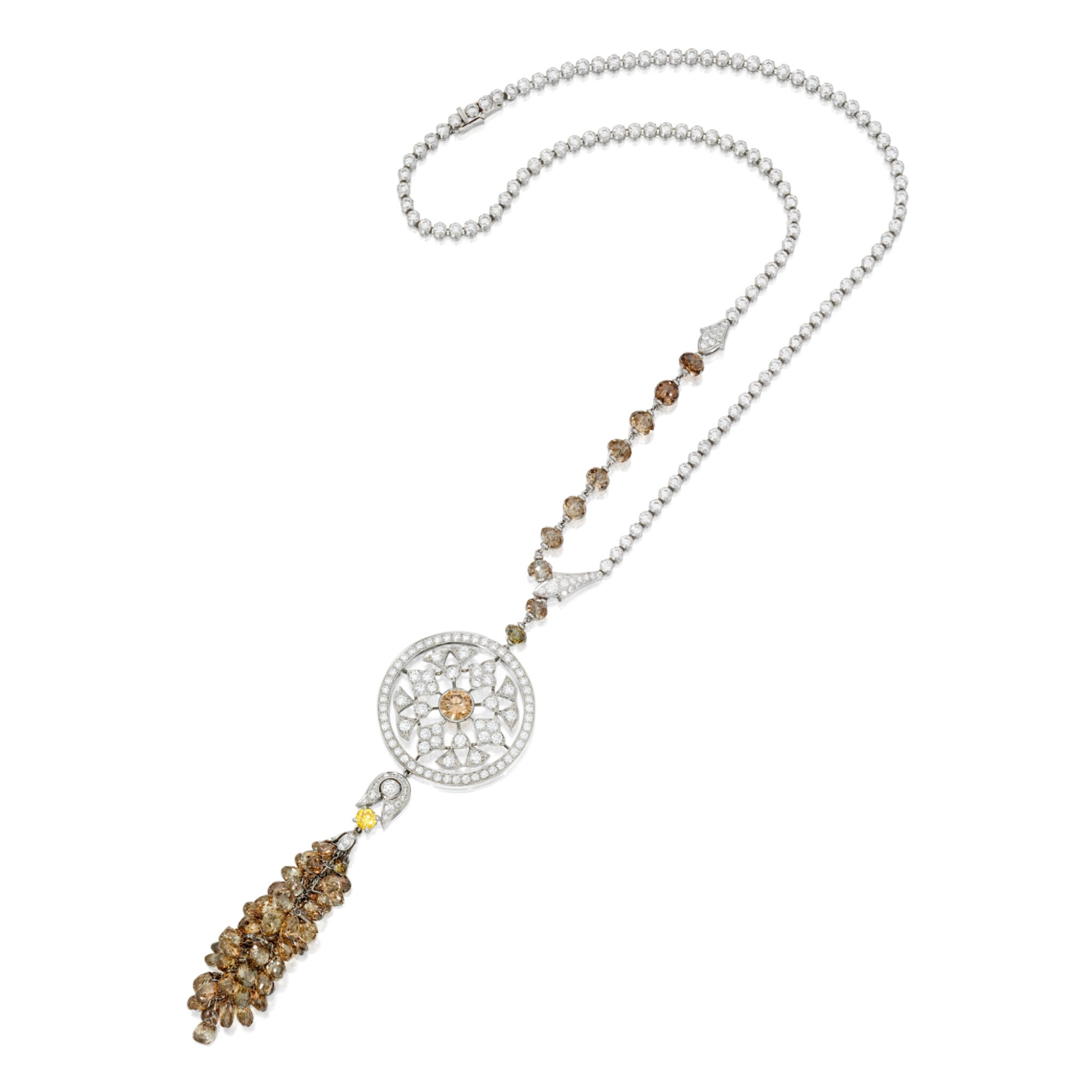 View full screen - View 1 of Lot 527. DIAMOND AND COLORED DIAMOND 'SURYA' PENDANT-NECKLACE, CARTIER, FRANCE | 鑽石配彩色鑽石「Surya」吊墜項鏈,卡地亞.