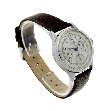 View 3. Thumbnail of Lot 97.  LECOULTRE   REFERENCE 7090  RETAILED BY CARTIER: A STAINLESS STEEL CHRONOGRAPH WRISTWATCH, CIRCA 1945.