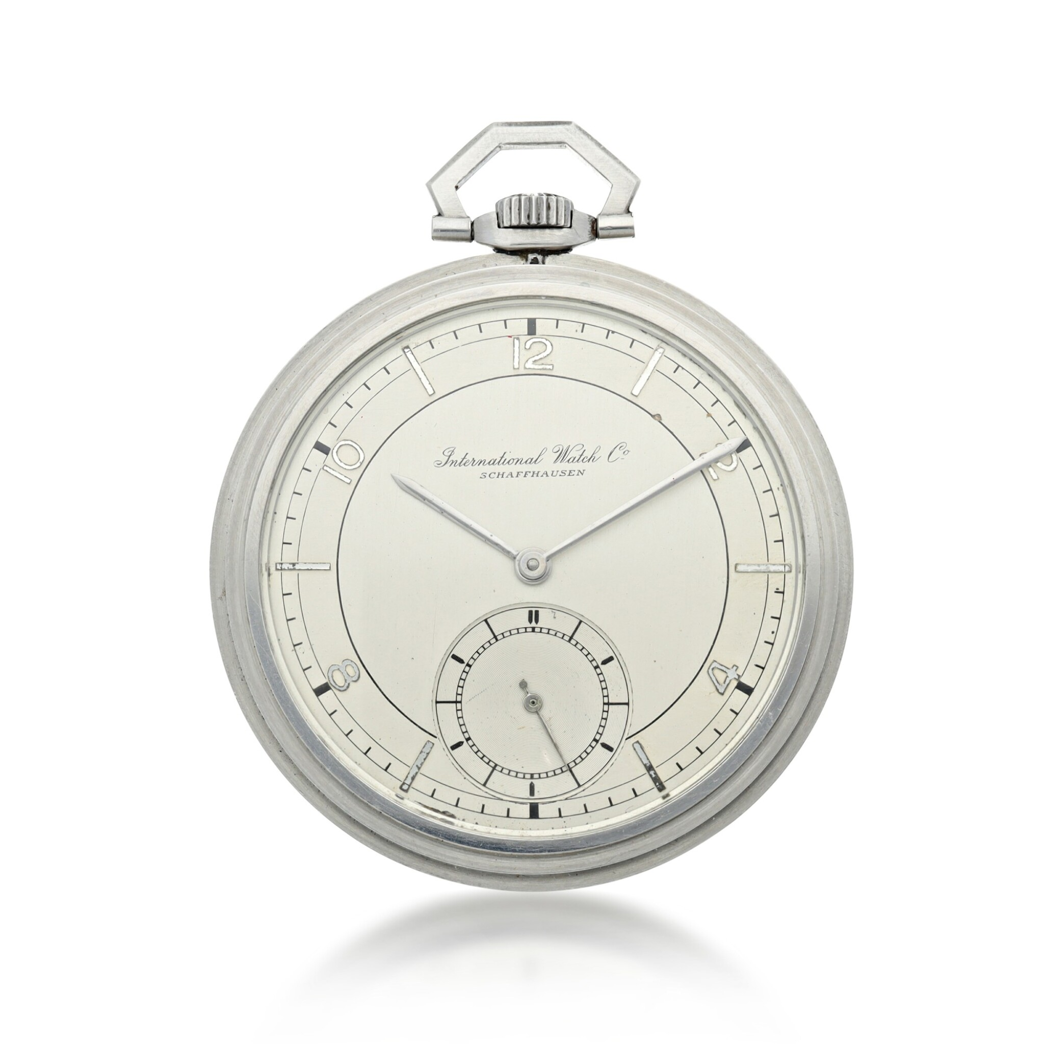 View full screen - View 1 of Lot 88. IWC   A STAINLESS STEEL OPEN FACED WATCH, CIRCA 1940.