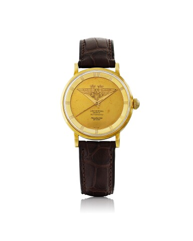 View 1. Thumbnail of Lot 32. UNIVERSAL GENÈVE | MADE FOR SCANDINAVIAN AIRLINES SYSTEM: POLAROUTER DELUXE, REF 10234/1  YELLOW GOLD WRISTWATCH CIRCA 1955.