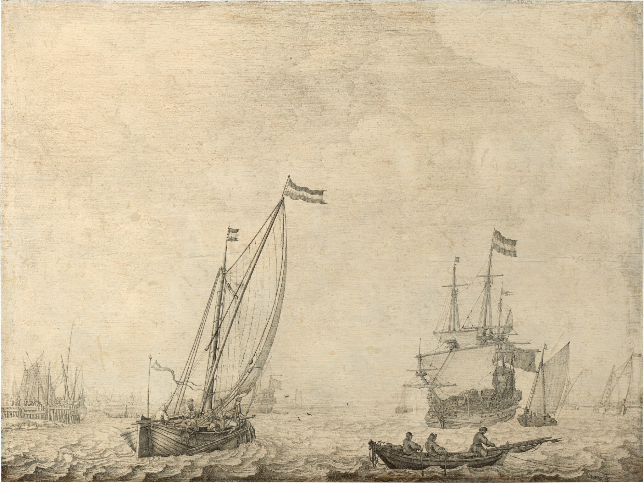 View full screen - View 1 of Lot 32. A coastal scene with a three-master, a kaag on a broad reach and other small vessels, a penschilderij   《三桅船、後舷風行駛的帆船及小型輪船海岸風景鋼筆畫》.