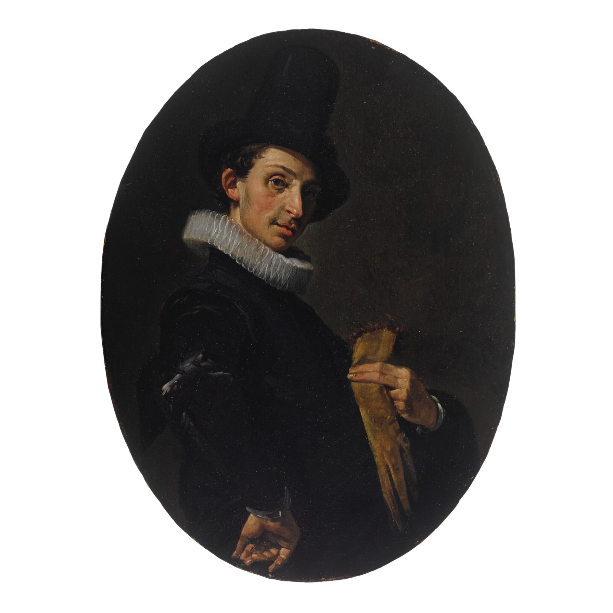 Portrait of a young man holding his gloves and wearing a tall hat, his arm akimbo