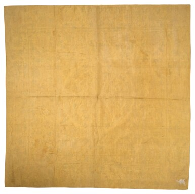 View 2. Thumbnail of Lot 32. A LARGE IMPERIAL YELLOW-GROUND EMBROIDERED SILK PANEL, QING DYNASTY, 18TH/19TH CENTURY | 清十八/十九世紀 黃地花卉紋繡片.