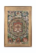 TANGKA REPRÉSENTANT UN MANDALA DE VAJRASANA TIBET, XVIIIE-XIXE SIÈCLE   西藏 十八至十九世紀 曼荼羅唐卡 設色布本 鏡框   A thangka depicting a Vajrasana mandala, distemper on cloth, Tibet, 18th-19th century