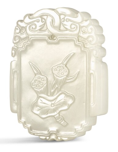 A WHITE JADE PLAQUE QING DYNASTY, 18TH CENTURY   清十八世紀 白玉題詩蓮蓬紋珮