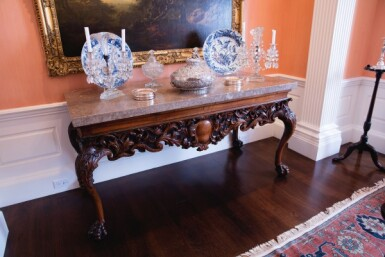 View 8. Thumbnail of Lot 111. An Irish George IV Carved Walnut Side Table, Circa 1820.