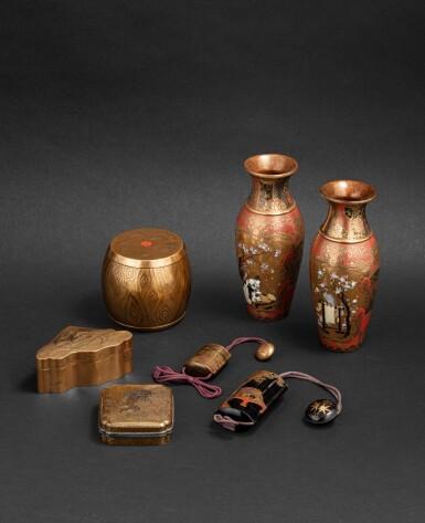 View 1. Thumbnail of Lot 252. Groupe de sept objets en laque Japon, époque Edo - époque Meiji | 日本 江戶至明治時期 漆器一組七件 | A group of seven lacquerwares, Japan, Edo - Meiji period.