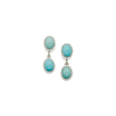 View 1. Thumbnail of Lot 28. PAIR OF TURQUOISE AND DIAMOND PENDANT-EARCLIPS.