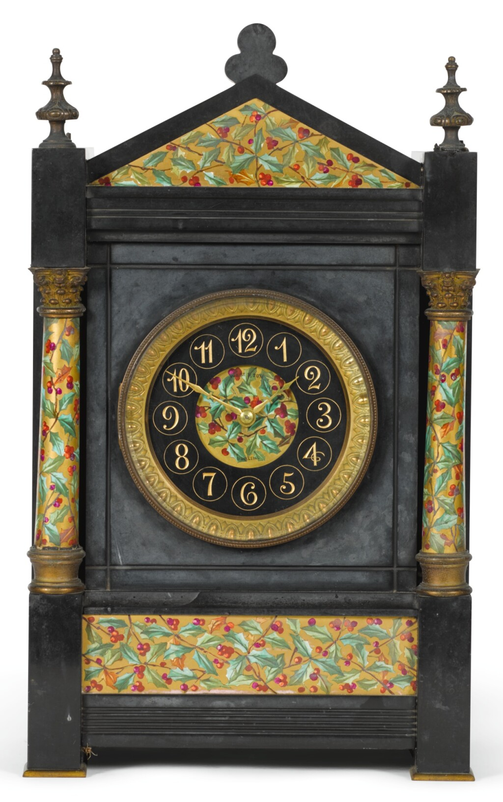 A BLACK MARBLE MANTEL CLOCK WITH RARE KEYLESS WINDING, FRENCH, CIRCA 1880