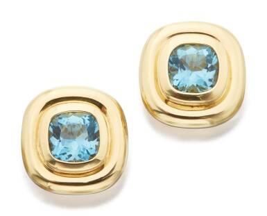 View 1. Thumbnail of Lot 23. PAIR OF GOLD AND AQUAMARINE EARCLIPS, PALOMA PICASSO FOR TIFFANY & CO..