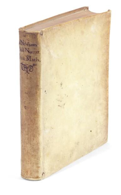 View 4. Thumbnail of Lot 74. Newton, Philosophiae naturalis principia mathematica, London, 1687, contemporary vellum.