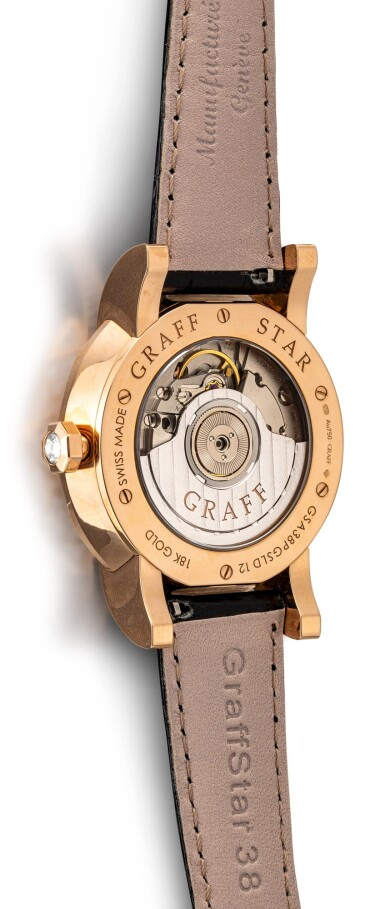 View 3. Thumbnail of Lot 1076. 'Graff Star Automatic Icon' Reference GSA38PGDL, 12 Limited Edition Pink Gold and Diamond-Set Automatic Wristwatch with Date, Day and Night Indication Combined with Dual Time Function | 格拉夫| Graff Star Automatic Icon編號GSA38PGDL 12,限量版粉红金镶鑽石自動上鏈兩地時區腕錶備日期及晝夜顯示,約2010年製.