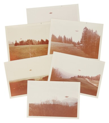 "View 2. Thumbnail of Lot 214. UFO SIGHTING. 6 VINTAGE PHOTOS TAKEN BY ""BILLY"" EDUARD ALBERT MEIER IN SWITZERLAND FROM 3 MARCH-14 JUNE 1975.."