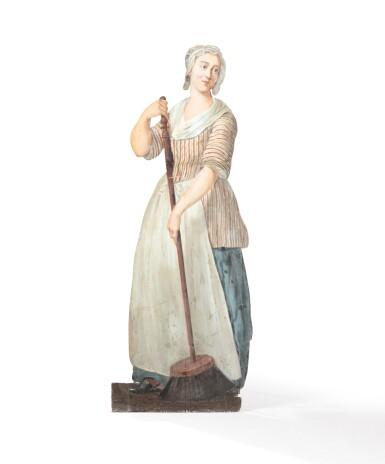 View 2. Thumbnail of Lot 68. FRANCO-FLEMISH SCHOOL, LATE 18TH CENTURY | TROMPE L'OEIL : A WOMAN CLEANING [ECOLE FRANCO-HOLLANDAISE, DE LA FIN DU XVIIIE SIÈCLE |  TROMPE-L'OEIL : FEMME BALAYANT].