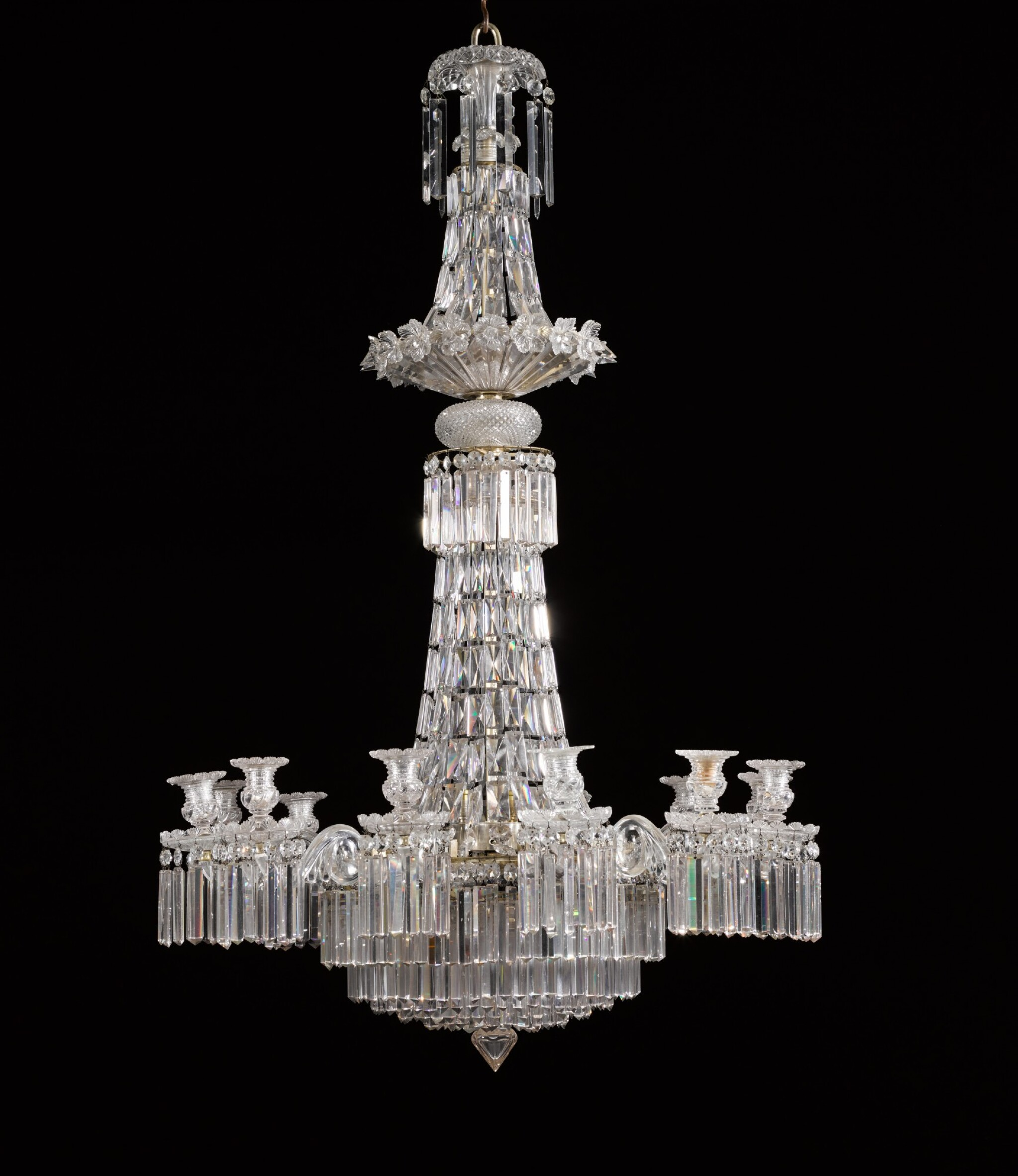 View full screen - View 1 of Lot 116. An English cut-glass twelve-light chandelier, late 19th/early 20th century, in the manner of Perry & Co.