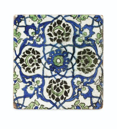 View 2. Thumbnail of Lot 130. A Group of Four Ottoman Iznik and Damascus Pottery Tiles, Turkey and Syria, 16th and 17th Centuries.