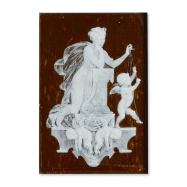 A MINTON PÂTE-SUR-PÂTE BROWN-GROUND RECTANGULAR PLAQUE CIRCA 1872