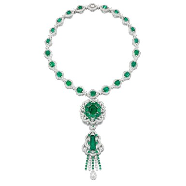View 1. Thumbnail of Lot 38. Emerald and diamond necklace.
