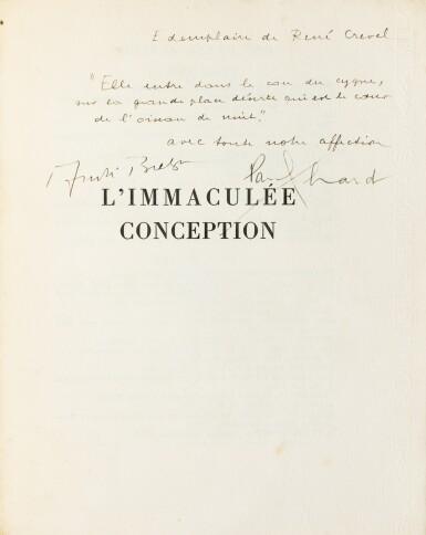 View 1. Thumbnail of Lot 219.  L'Immaculée conception. Paris,1930. Ex de René Crevel, broché, chemise et étui.