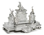 A large and Impressive silver Imperial presentation inkwell, Grachev, St Petersburg, 1892