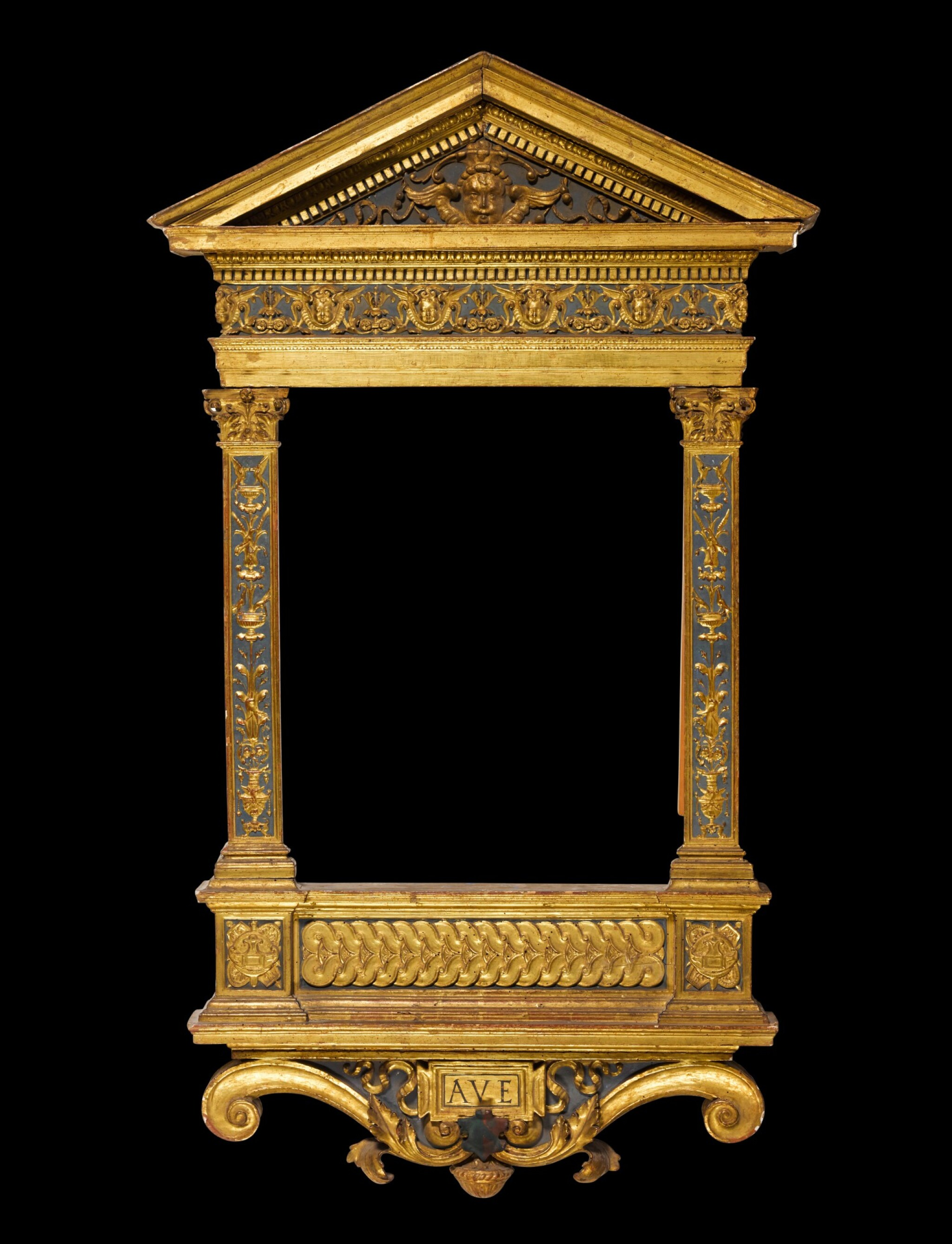 View 1 of Lot 170. A North Italian Renaissance style painted and parcel gilt gesso and wood tabernacle frame, probably Tuscany, incorporating old elements.