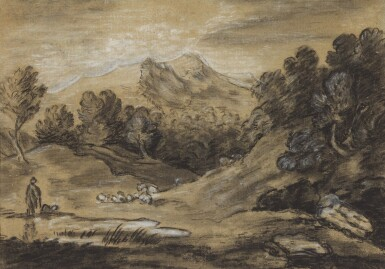 FOLLOWER OF THOMAS GAINSBOROUGH, R.A. | Shepherd with his flock in a mountainous landscape