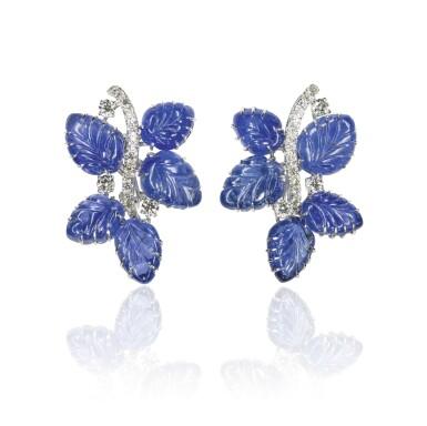 Pair of sapphire and diamond ear clips, Michele della Valle