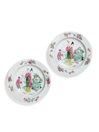 View 1. Thumbnail of Lot 1141. A PAIR OF FAMILLE-ROSE 'EGGSHELL' PORCELAIN DISHES, QING DYNASTY, YONGZHENG PERIOD.