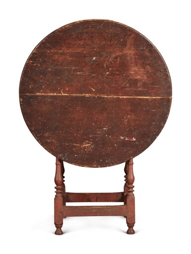View 4. Thumbnail of Lot 1. William and Mary Red-Painted Maple and Pine Tilt-Top Tavern Table, New England, circa 1730.