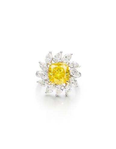 View 1. Thumbnail of Lot 1616. FANCY VIVID YELLOW DIAMOND AND DIAMOND RING| 5.01卡拉 艷彩黃色 鑽石 配 鑽石 戒指.