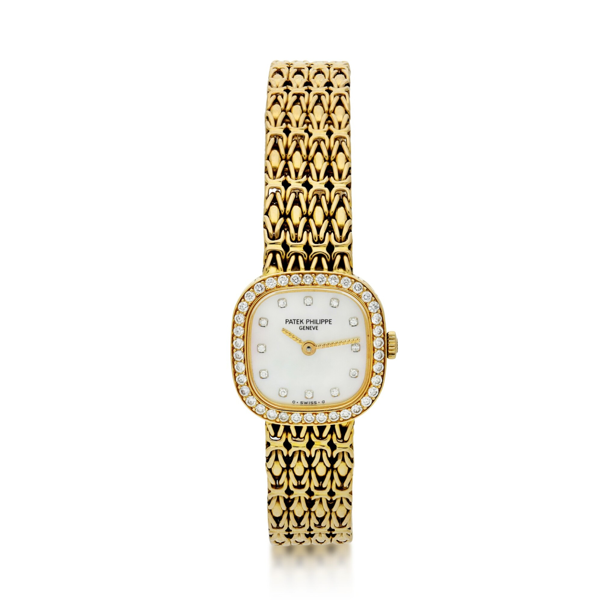 View full screen - View 1 of Lot 57.  PATEK PHILIPPE | REFERENCE 4712/1 A YELLOW GOLD AND DIAMOND-SET SQUARE BRACELET WATCH, MADE IN 1987.