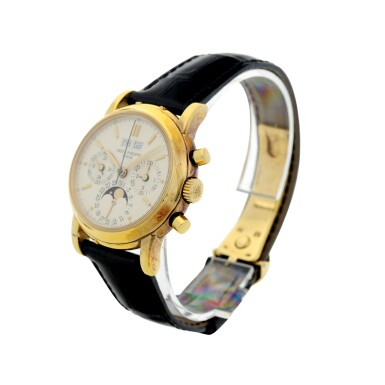 View 3. Thumbnail of Lot 31. REFERENCE 3970/E 'SECOND SERIES' A YELLOW GOLD PERPETUAL CALENDAR CHRONOGRAPH WRISTWATCH WITH MOON PHASES, 24 HOURS AND LEAP YEAR INDICATION, MADE IN 1987.