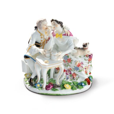 A MEISSEN GROUP OF A FREEMASON COUPLE TAKING CHOCOLATE CIRCA 1745