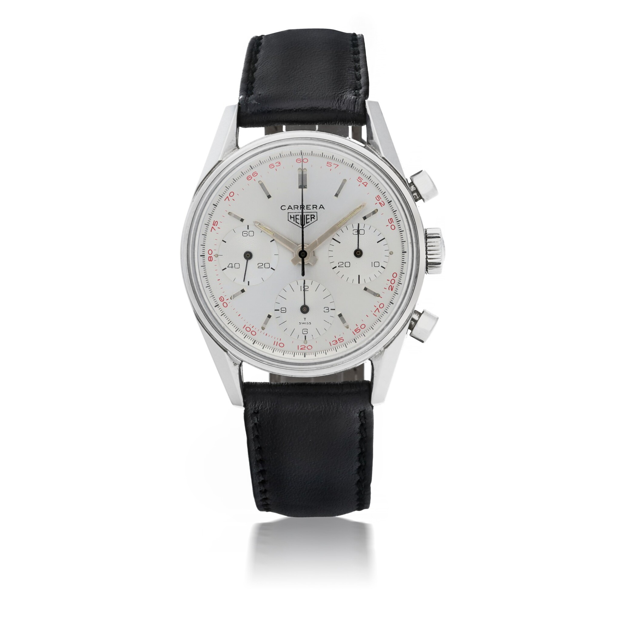 View full screen - View 1 of Lot 48. HEUER | CARRERA 12, REF 2447T STAINLESS STEEL CHRONOGRAPH WRISTWATCH  CIRCA 1965.