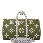 Louis Vuitton Khaki Green Keepall Bandoulière 50 of Giant Monogram Canvas with Polished Brass Hardware