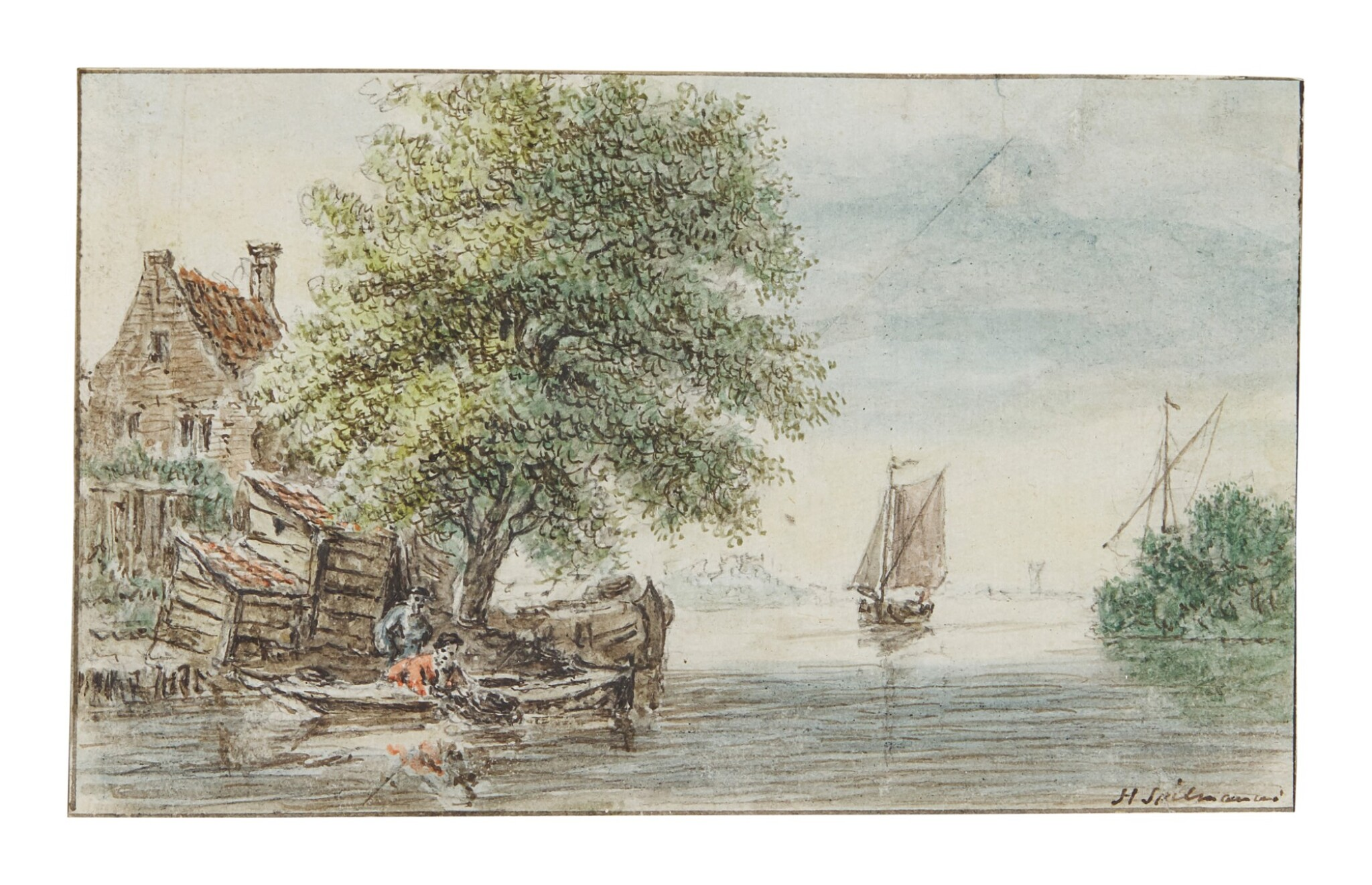 View full screen - View 1 of Lot 586. HENDRIK SPILMAN   RIVER LANDSCAPE WITH TWO FIGURES FISHING FROM A BOAT BY COTTAGES TO THE LEFT.