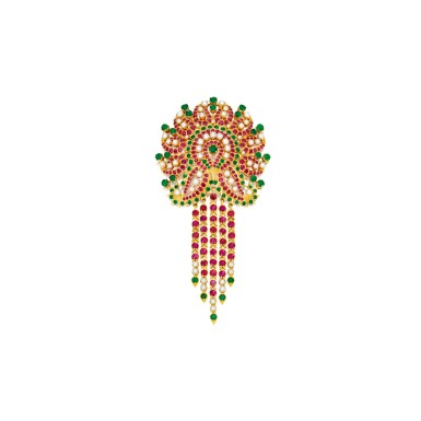 GOLD, CULTURED PEARL, EMERALD AND RUBY PENDANT-BROOCH | 黃金鑲養殖珍珠配祖母綠及紅寶石吊墜別針