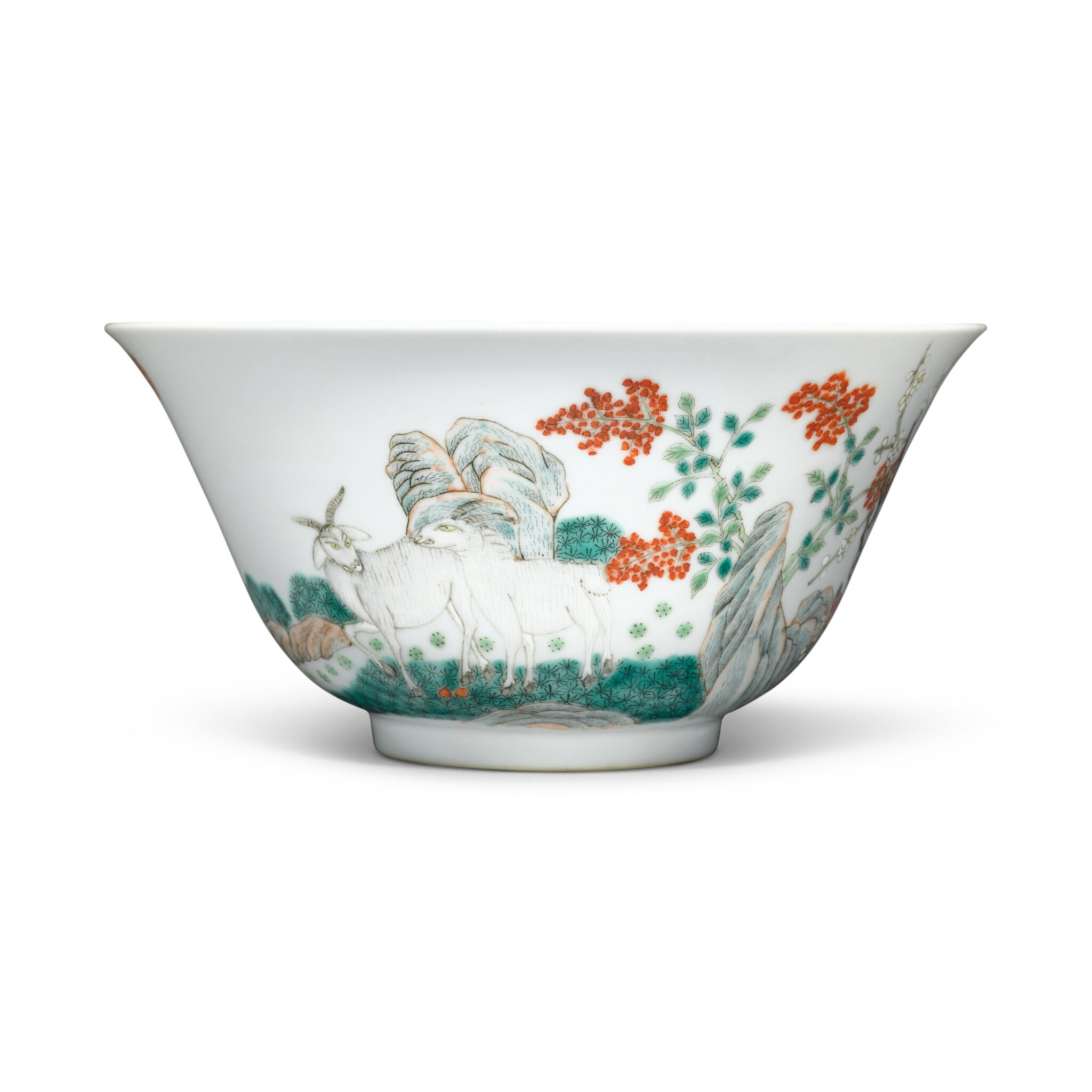 View full screen - View 1 of Lot 9. A famille-rose 'sanyang' bowl, Mark and period of Guangxu.