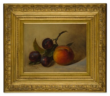 FREDERICK S. BATCHELLER | STILL LIFE WITH PEACH AND PLUMS