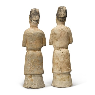 View 2. Thumbnail of Lot 108. Two painted pottery figures of attendants, Tang dynasty.