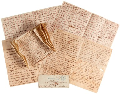"""View 3. Thumbnail of Lot 38. V. Bellini. Five autograph letters about his love affairs, """"I puritani"""" and Shakespeare, mainly unpublished, 1834-1835."""