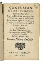 VEGA, JOSEPH PENSO DE LA   Confusion de Confusiones. Dialogos curiosos entre un Philosopho agudo, un Mercader discreto, y un Accionista erudito descriviendo el negocio de las Acciones, su origen, su ethimologia, su realidad, su juego, y su enredo. Amsterdam, 1688