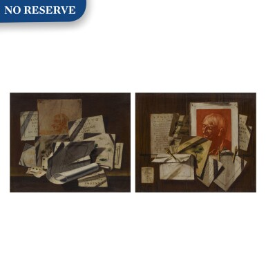 View 1. Thumbnail of Lot 96. A pair of trompe-l'œil still lifes with portrait and landscape sketches, sonnets, mathematical sketches.