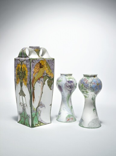 """View 2. Thumbnail of Lot 119. ROZENBURG   TWO-HANDLED """"SUNFLOWER AND SWALLOW"""" VASE."""